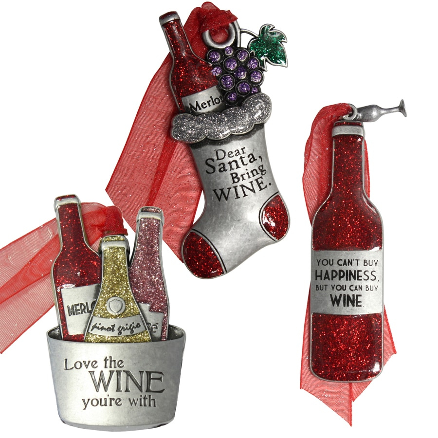 Gloria Duchin 3-Pack Pewter Love The Wine You'Re With, Dear Santa Bring Wine, You Can'T Buy Happiness But You Can Buy Wine Ornament Set