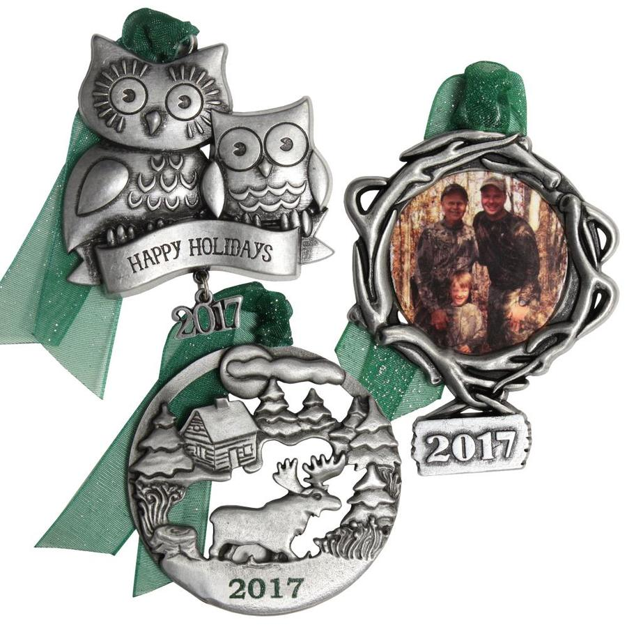Gloria Duchin 3-Pack Pewter Happy Holidays Ornament Set