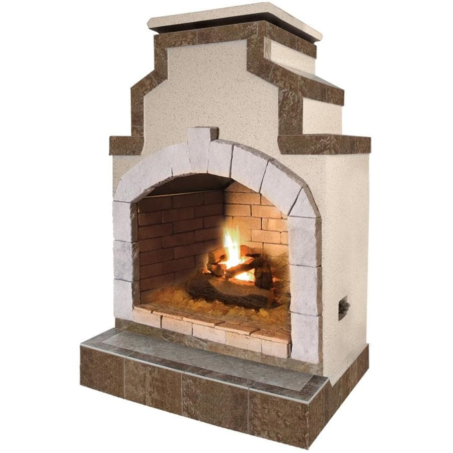 Shop cal flame 55 000 btu tan composite outdoor liquid for Where to buy outdoor fireplace