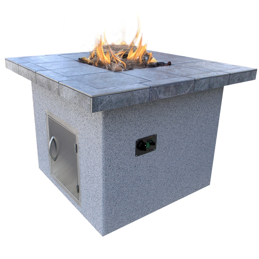 Cal Flame 48-in W 55000-Btu Gray Composite Liquid Propane Fire Pit