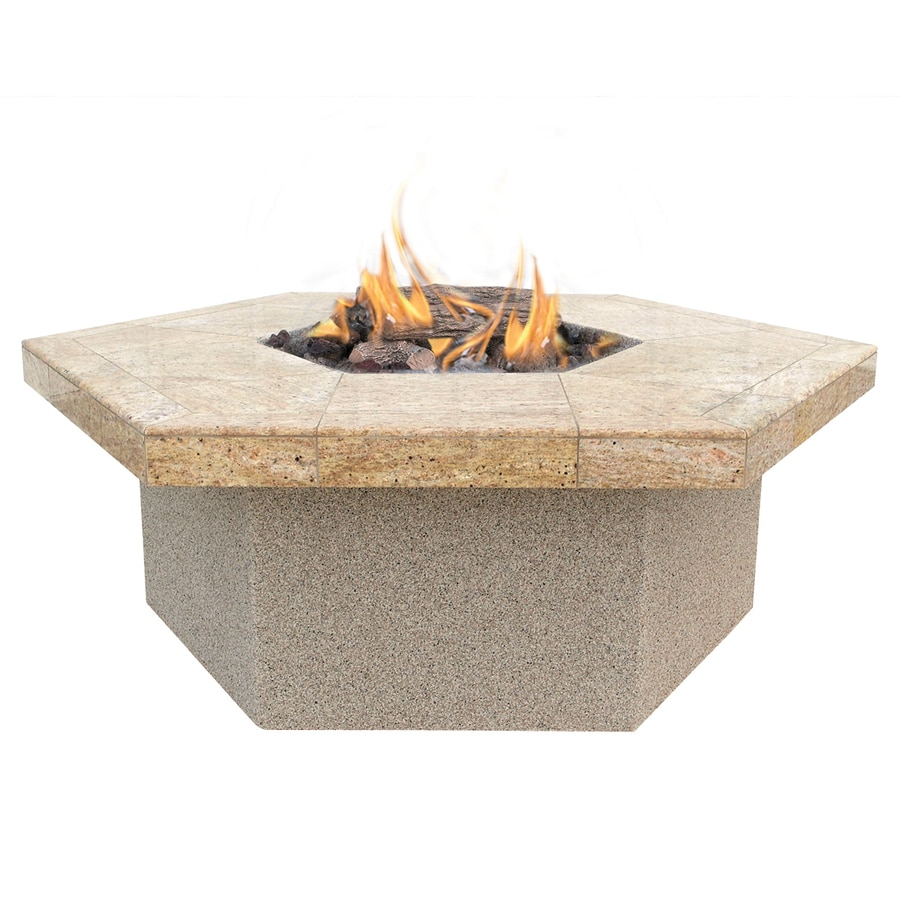 Cal Flame 48-in W 55000-Btu Beige Composite Liquid Propane Fire Pit