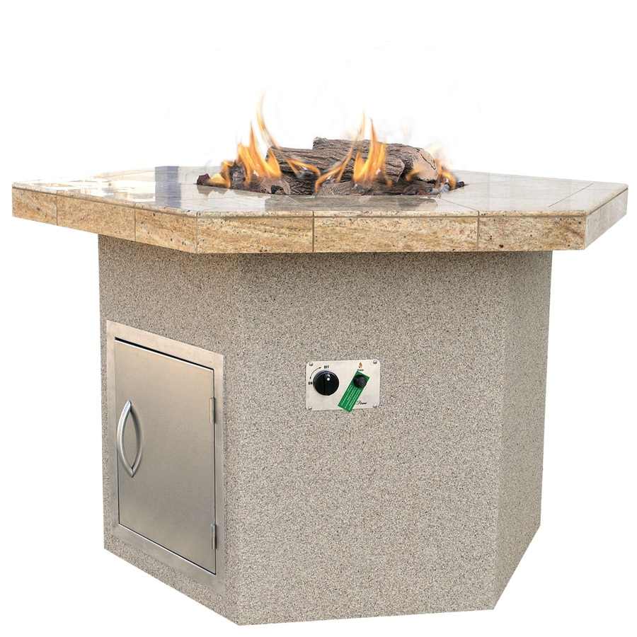 Cal Flame 48-in W 55000-BTU Beige Tabletop Composite Propane Gas Fire Pit