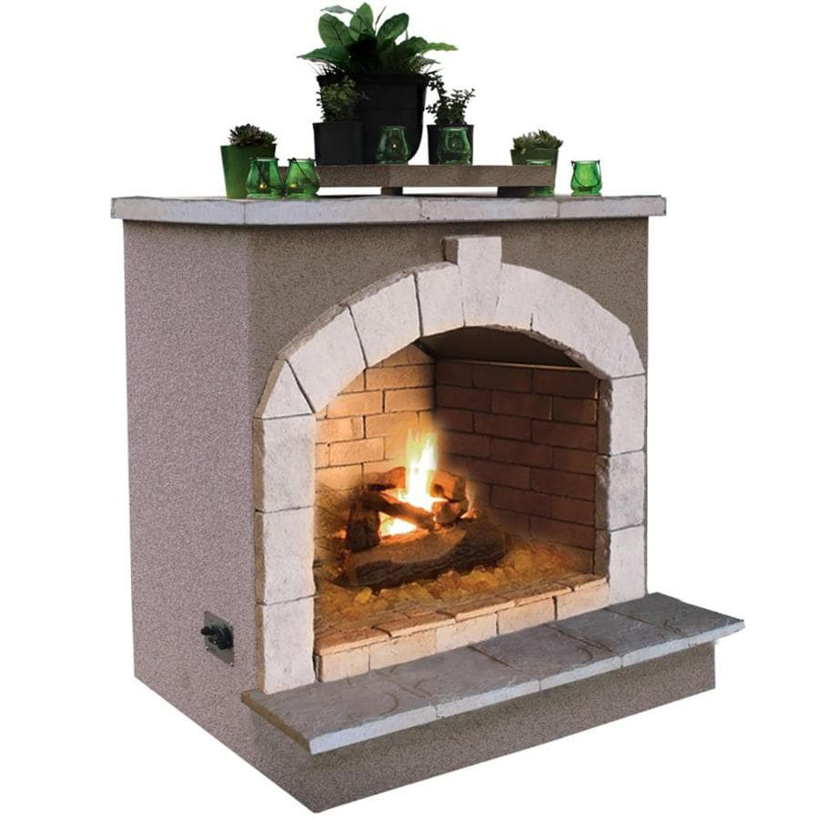 Shop cal flame 55 000 btu beige composite outdoor liquid for Where to buy outdoor fireplace