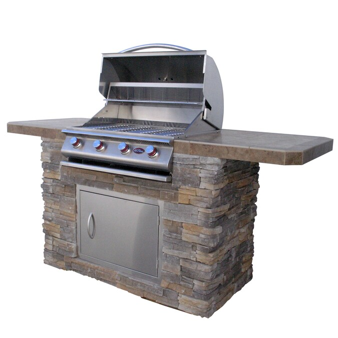 Cal Flame 7 Ft Cultured Stone Bbq