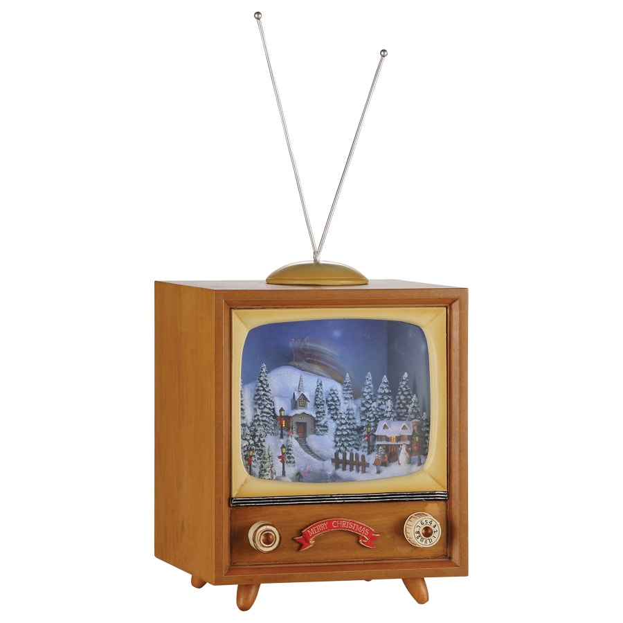 Amusements Christmas Wood Lighted Musical Retro TV with Santa Over Village