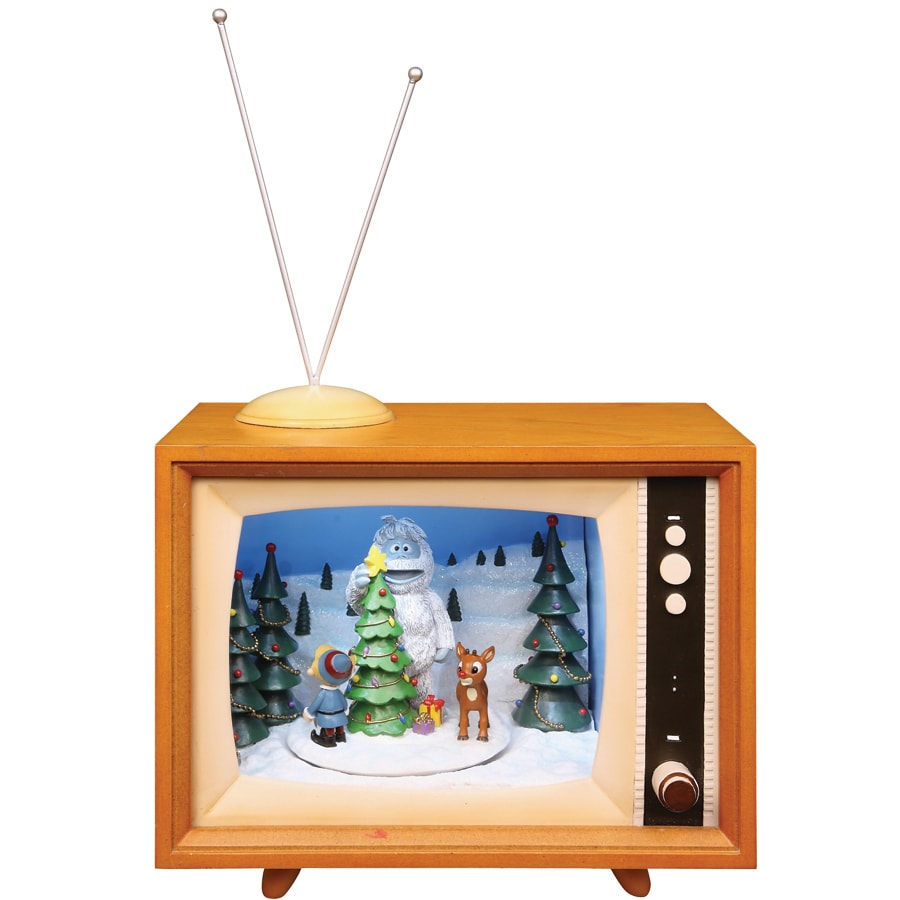 Rudolph the Red-Nosed Reindeer Christmas Plastic Lighted Musical Retro TV with Rudolph, Hermey and Bumble