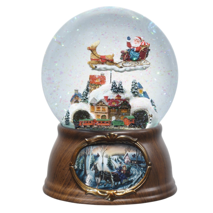 Glitterdome Christmas Resin Musical Santa with Train Glitterdome