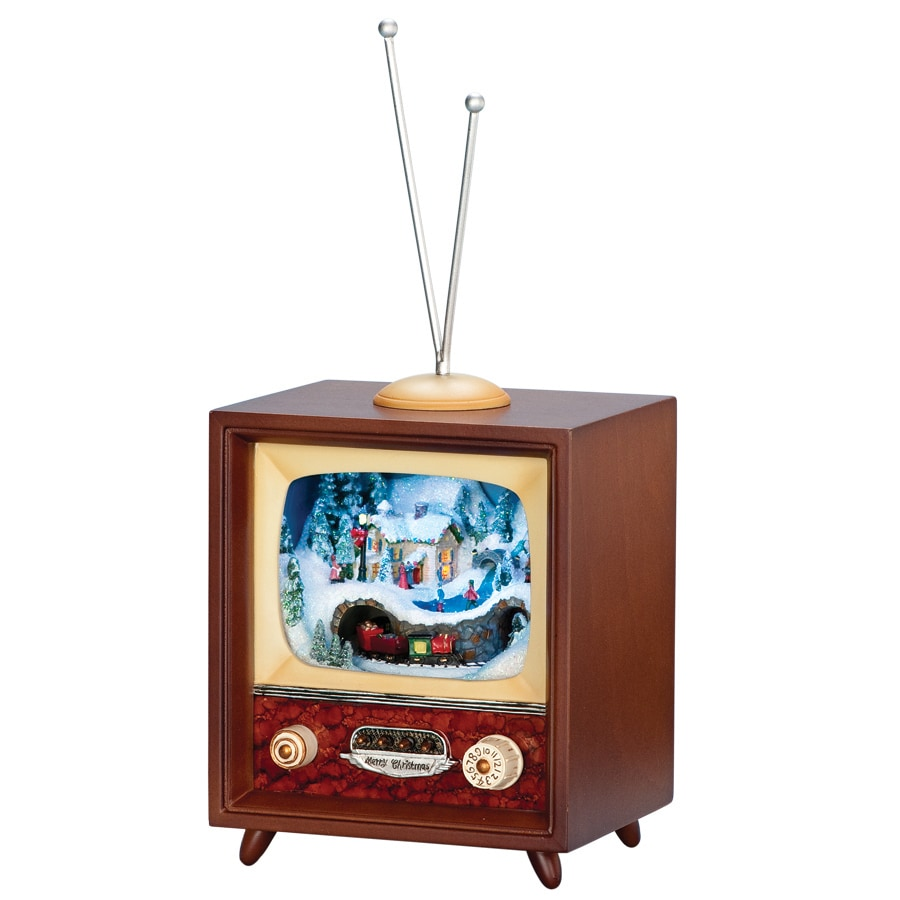 Amusements Christmas Plastic Lighted Musical Musical Retro TV with Train