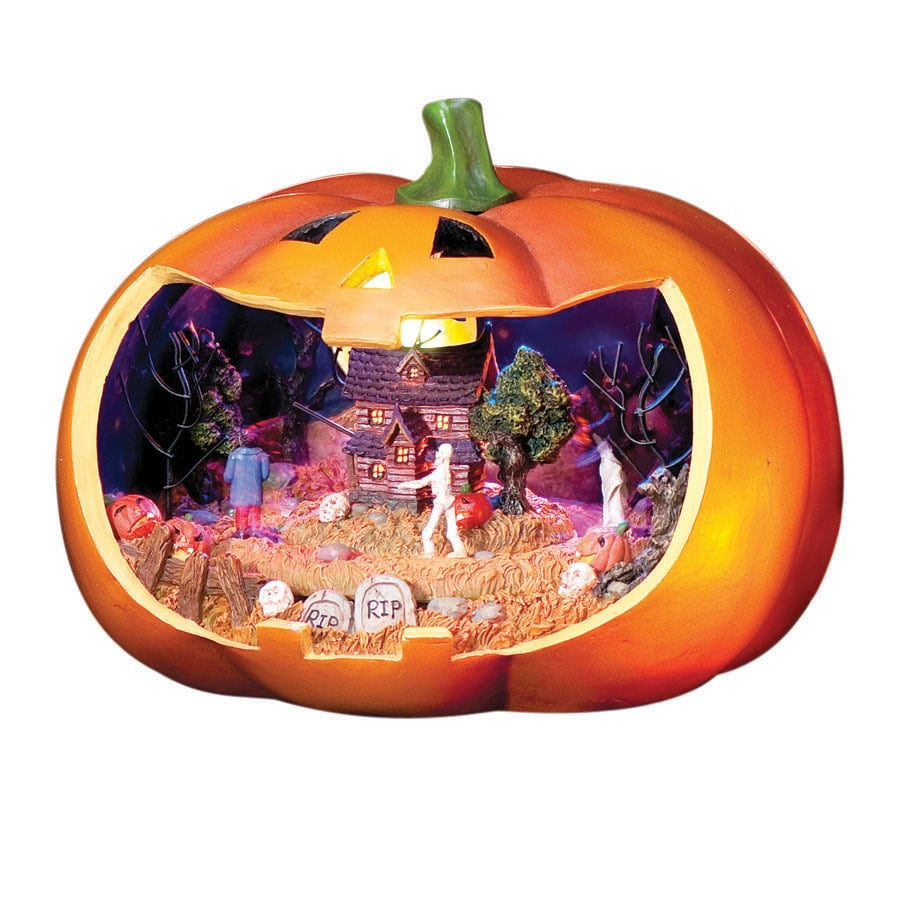 Amusements Halloween Resin Lighted Musical Jack-O-Lantern