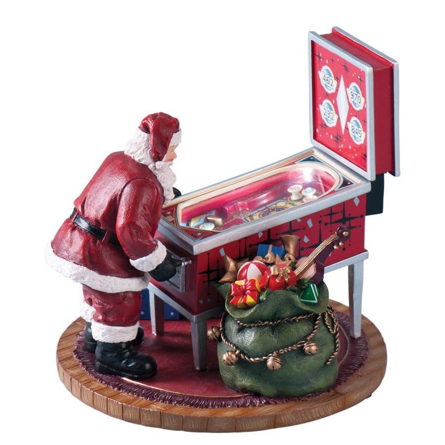 Amusements Christmas Resin Lighted Musical Retro Pinball Machine Figure