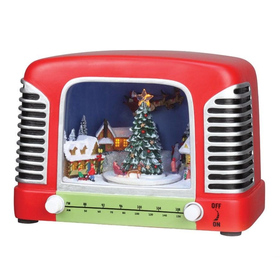 Amusements Christmas Resin Lighted Musical Retro Radio Scene
