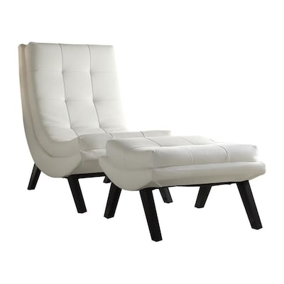 Magnificent Austin Lounge Chair And Ottoman Set With White Faux Leather Fabric And Black Legs Evergreenethics Interior Chair Design Evergreenethicsorg