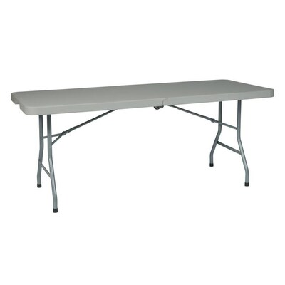 Work Smart 6 Ft Resin Multi Purpose Center Fold Table With