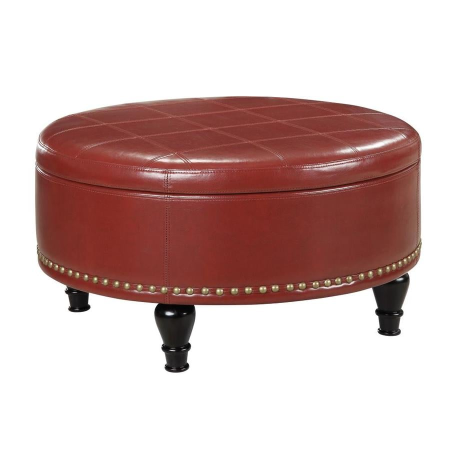 Osp Home Furnishings Midcentury Crimson Red Faux Leather Round Storage In The Indoor Ottomans Department At Lowes Com