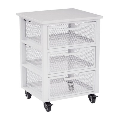 Clayton 3 Drawer White Rolling Cart 3-Compartment Steel Small Parts  Organizer