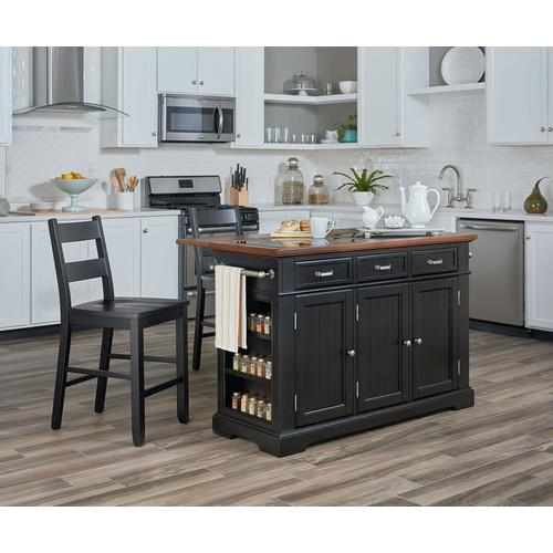 OSP Home Furnishings Black Country/Cottage Kitchen Island ...