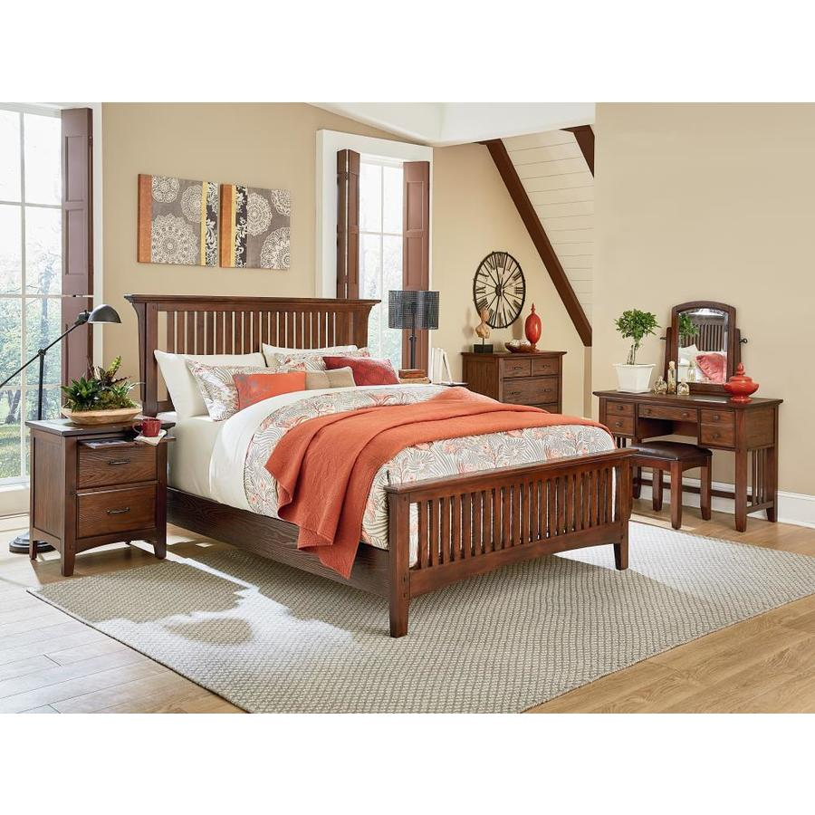 OSP Home Furnishings Modern Mission Queen Bedroom Set With 2 Nightstands, 1  Chest, 1 Vanity, And 1 Bench In Vintage Oak Finish 8/CTN
