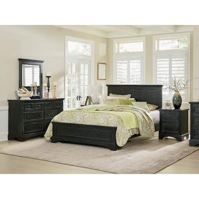 OSP Home Furnishings Farmhouse Basics Rustic Black Queen ...