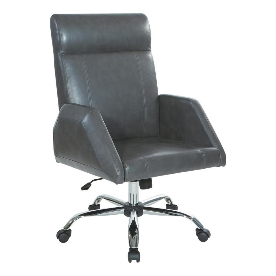 Osp Home Furnishings Rochester Executive Chair In Charcoal Faux Leather With Chrome Base In The Office Chairs Department At Lowes Com