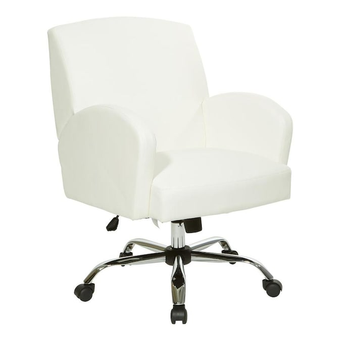 Osp Home Furnishings Joliet Office Chair In White Faux Leather With Chrome Base In The Office Chairs Department At Lowes Com