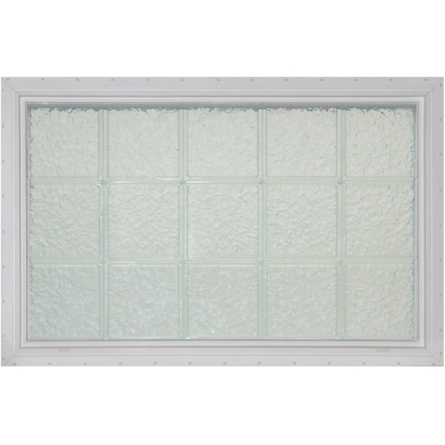 Pittsburgh Corning LightWise Icescapes White Vinyl New Construction Glass Block Window (Rough Opening: 33.1875-in x 25.375-in; Actual: 32.1875-in x 24.375-in)