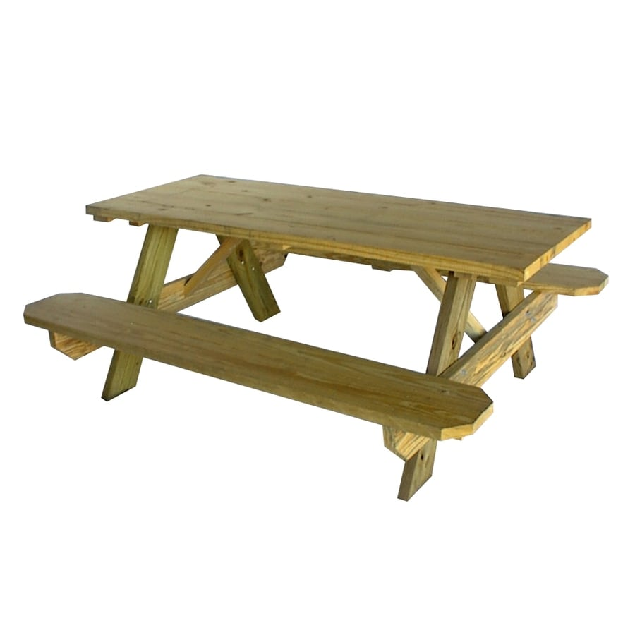 Shop 72 In Brown Southern Yellow Pine Rectangle Picnic Table At