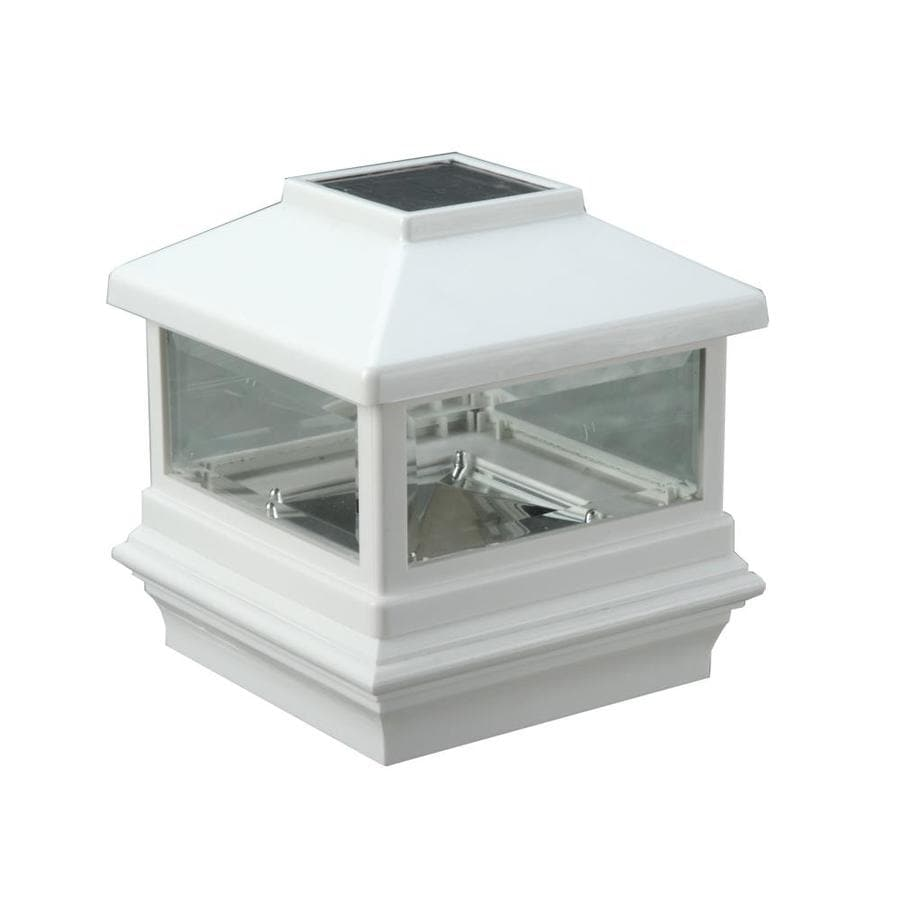 Deckorators (Fits Common Post Measurement: 5-in x 5-in; Actual: 6.12-in x 6.12-in x 6.5-in) White Solar LED Metal Deck Post Cap