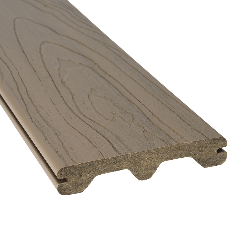 Style Selections Gray Tongue and Groove Composite Deck Board (Actual: 1-in x 5.44-in x 12-ft)