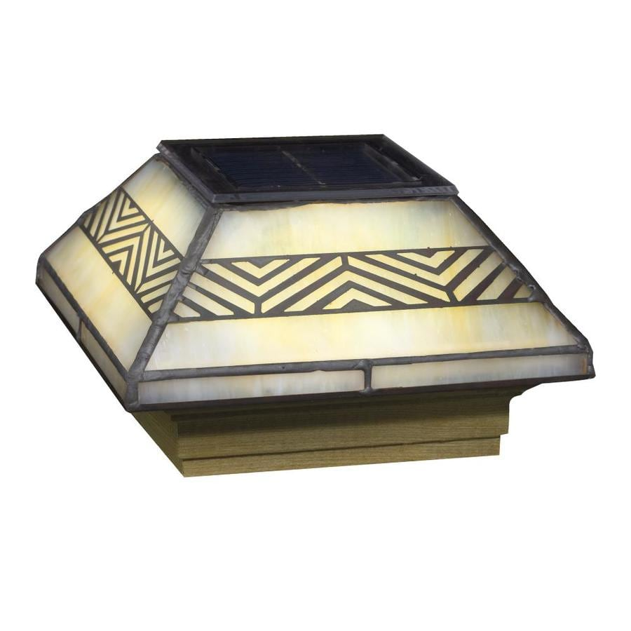 Deckorators (Fits Common Post Measurement: 4-in x 4-in; Actual: 5.85-in x 5.85-in x 3.23-in) Stained Glass Solar LED Glass Pine Deck Post Cap