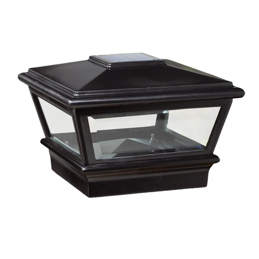 Deckorators (Fits Common Post Measurement: 4-in x 4-in; Actual: 6.75-in x 6.75-in x 4.85-in) Black Solar LED Metal Deck Post Cap