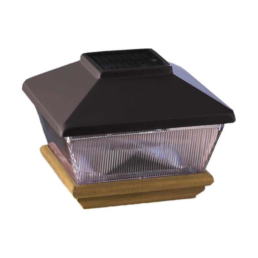 Deckorators Black Solar LED Metal Pine Deck Post Cap (Fits Common Post Measurement: 6-in x 6-in; Actual: 8.75-in x 8.75-in x 7-in)