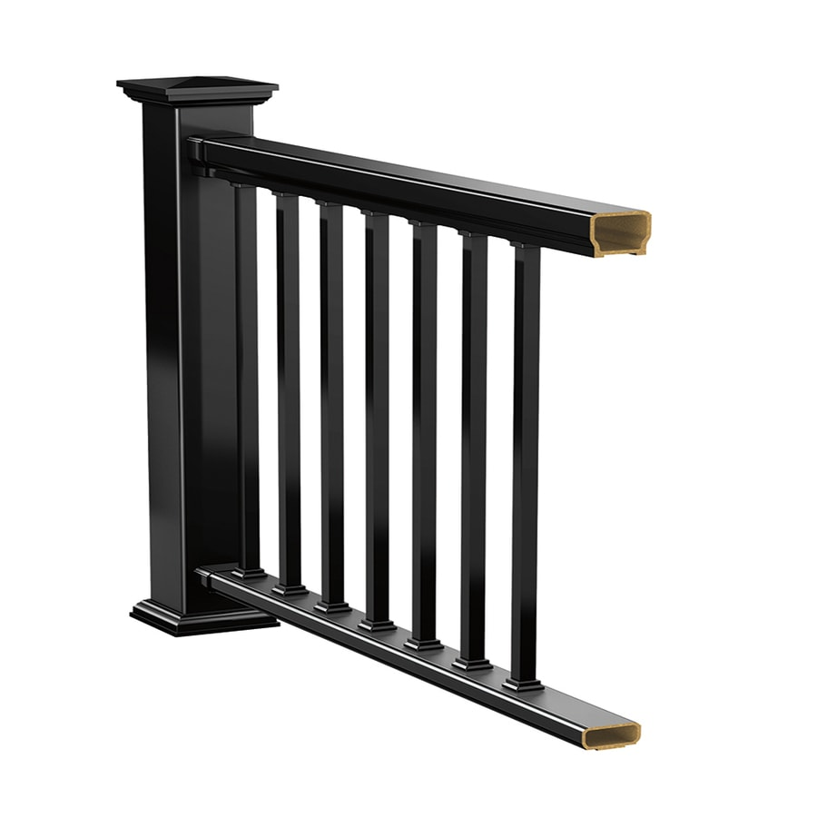 Deckorators (Assembled: 8-ft x 3-ft) Black Composite Deck Railing Kit