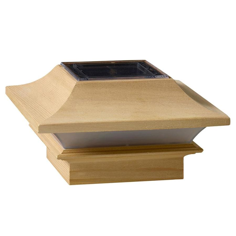 Deckorators (Fits Common Post Measurement: 4-in x 4-in; Actual: 3.75-in x 6.37-in x 6.37-in) Solar LED Wood Pine Deck Post Cap