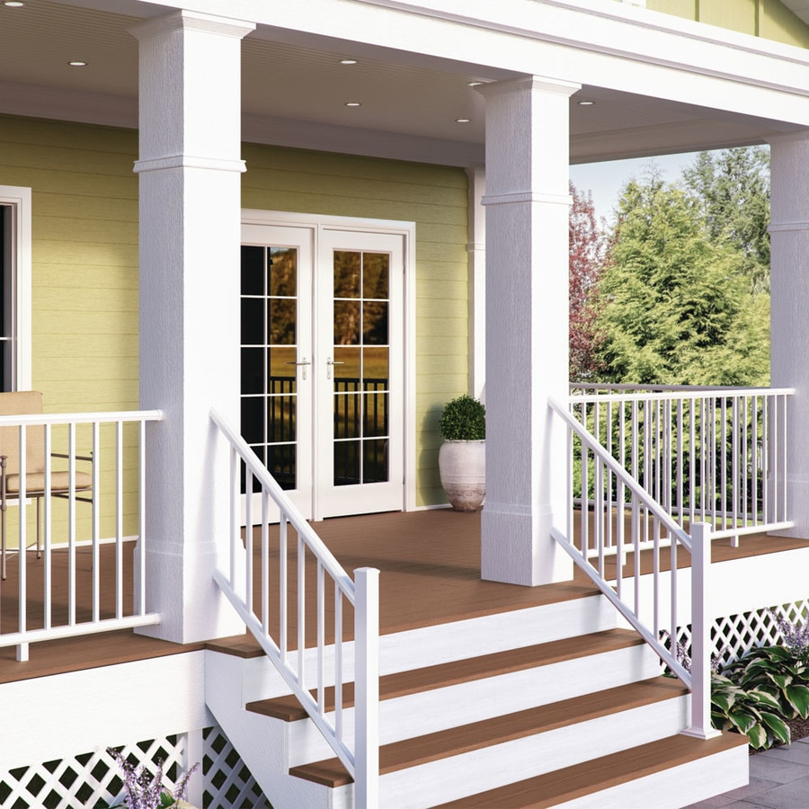 Deckorators Pre Assembled 6 Ft X 2 25 In X 36 In Textured White Aluminum Deck Stair Rail Kit With Balusters 6 Piece And Assembly Required In The Deck Railing Department At Lowes Com