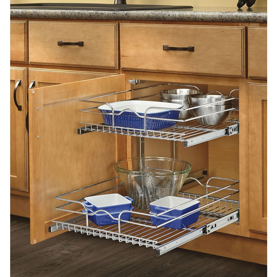 Rev A Shelf 17 75 In W X 19 H Metal 2 Tier Pull Out Cabinet Basket