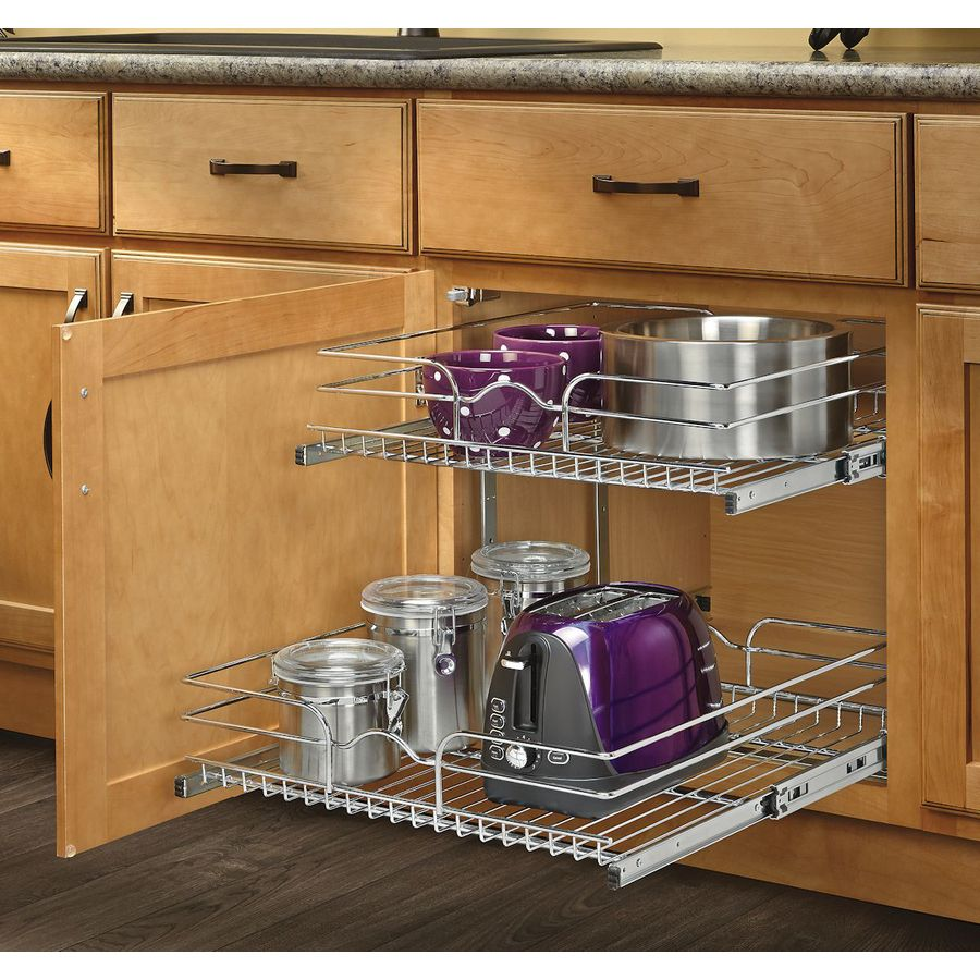 Rev A Shelf 20 75 In W X 19 H Metal 2 Tier Pull Out Cabinet Basket