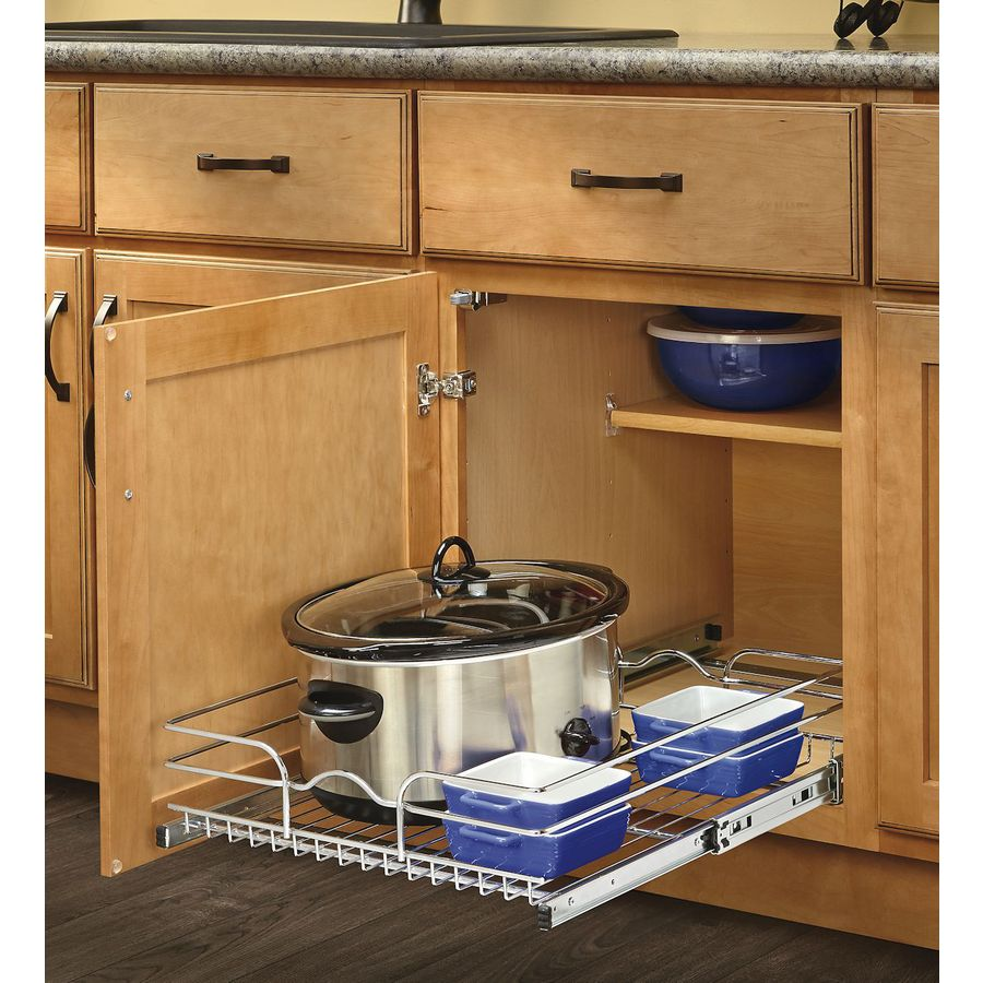 rev a shelf 17 5 in w x 7 in 1 tier pull out metal basket at lowes com rh lowes com kitchen cabinet pull out shelf kitchen base cabinet pull out shelves