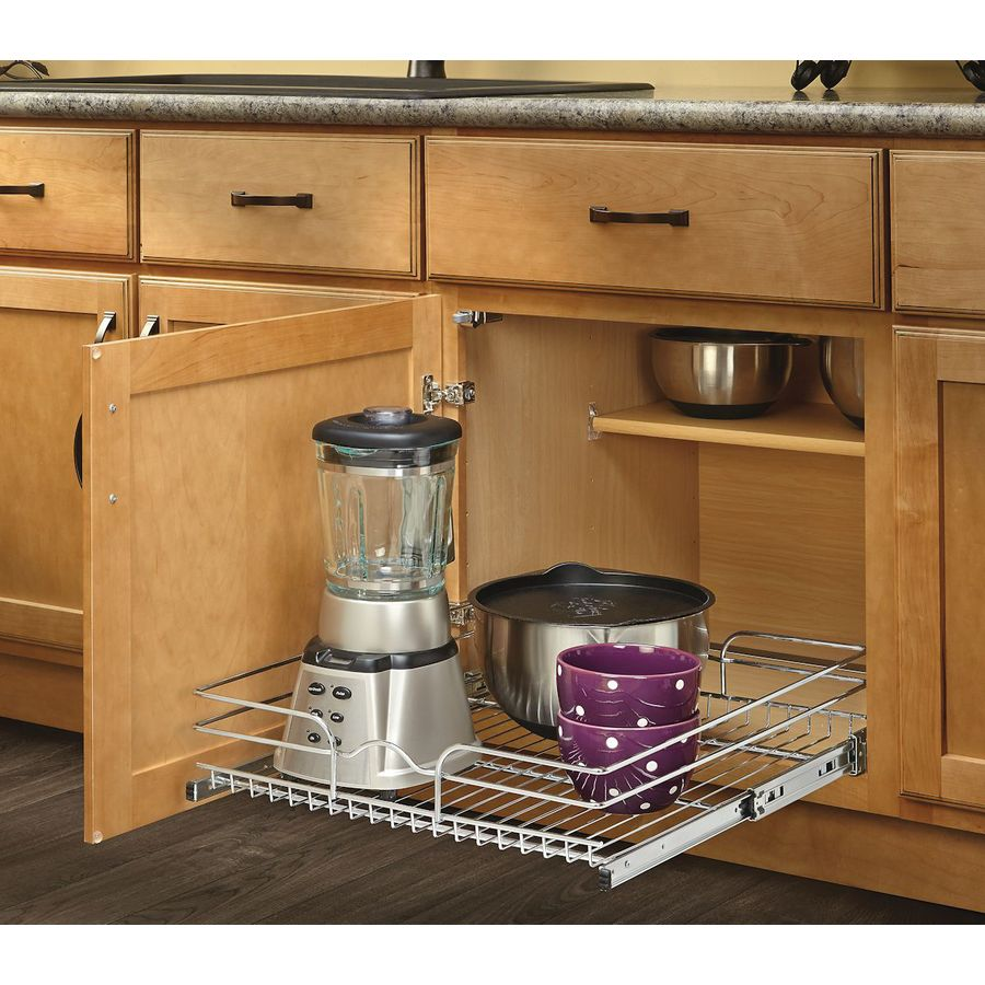 Shop rev a shelf 20 5 in w x 7 in h metal 1 tier pull out for Kitchen cupboard drawers