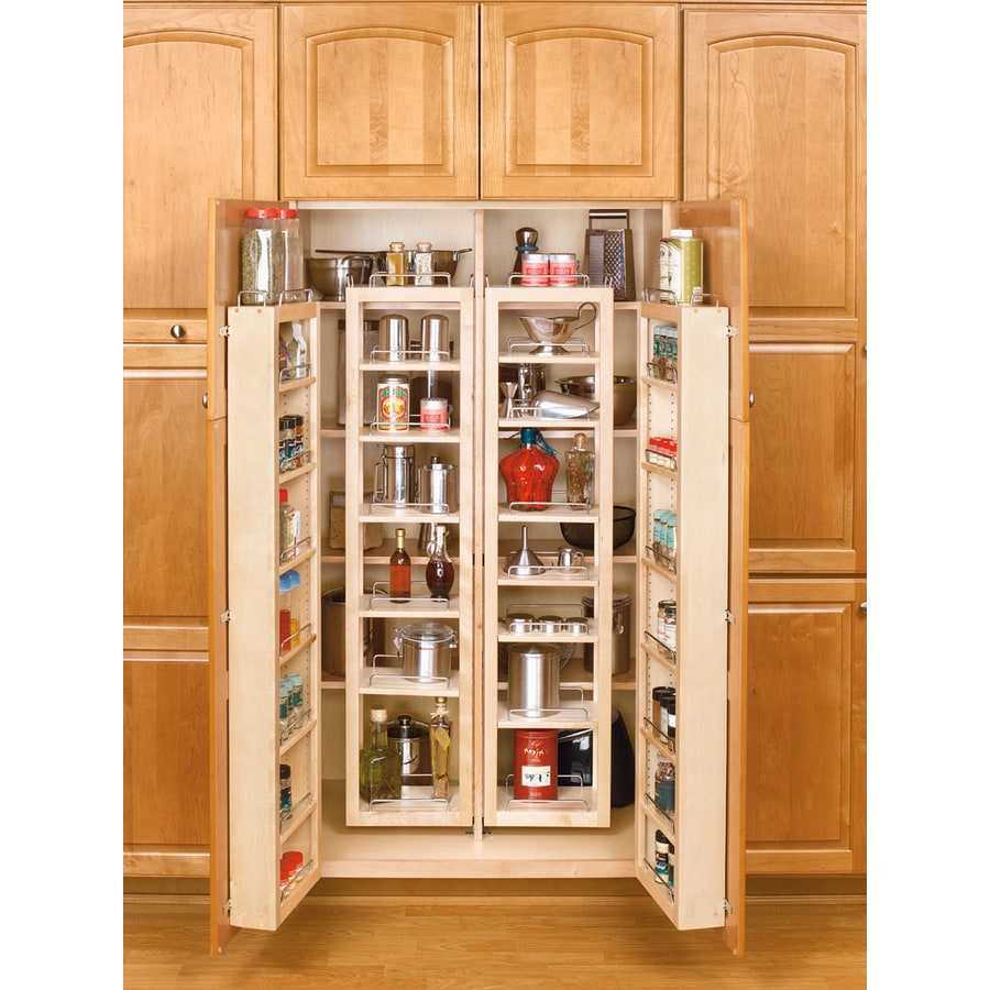 Shop rev a shelf 57 in wood swing out pantry kit at for Kitchen cabinets storage