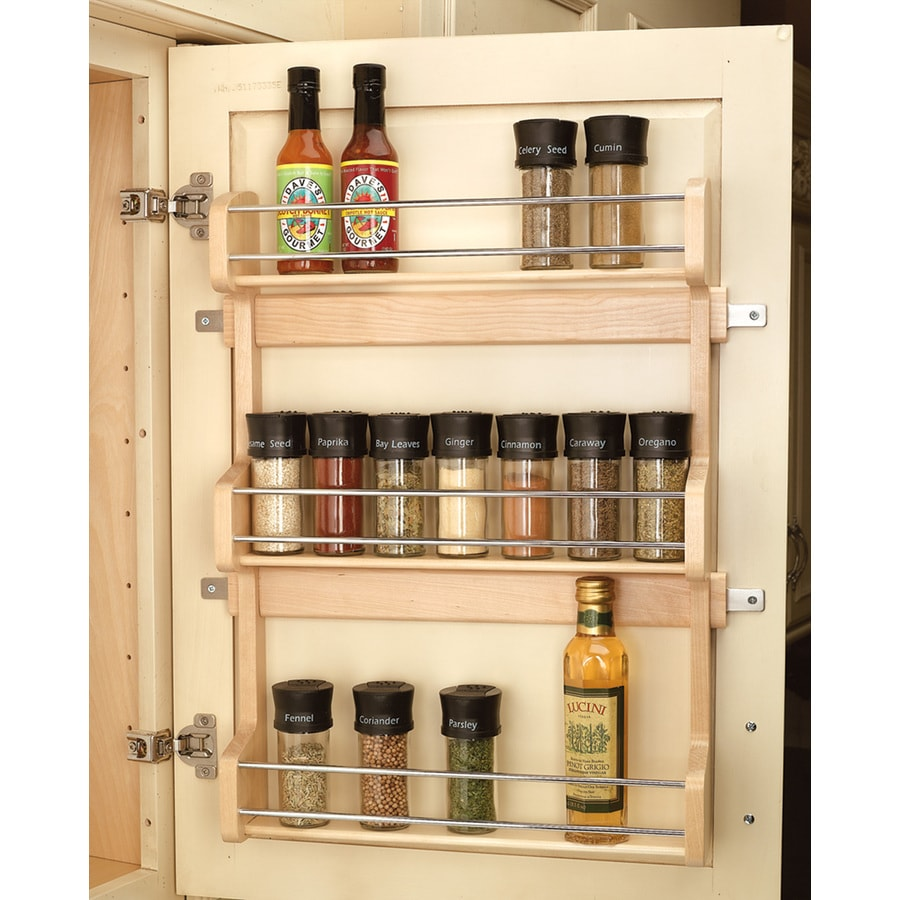 kitchen cabinet spice rack organizer shop rev a shelf 15 62 in w x 21 5 in tier door wall mount 19613
