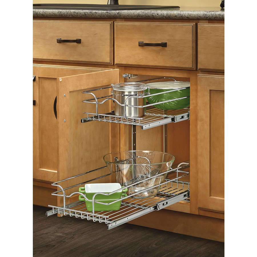 Shop rev a shelf w x 19 in h metal 2 tier pull out for Kitchen cabinet organizers