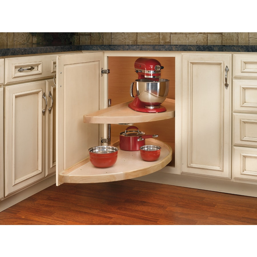 Kitchen cabinets lazy susan corner cabinet - Rev A Shelf 2 Tier Wood Half Moon Cabinet Lazy Susan