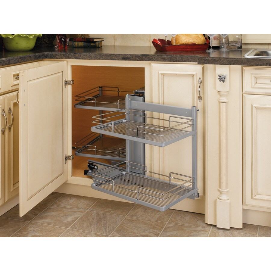 Superbe Rev A Shelf 34 In W X 20.5 In D X 28 In H 2 Tier Metal Pull Out Cabinet  Basket