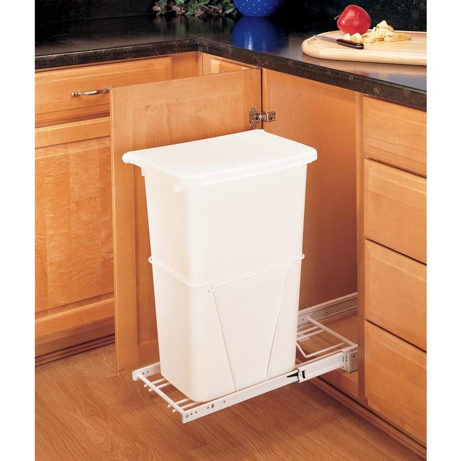 kitchen cabinet garbage shop rev a shelf 50 quart plastic pull out trash can at 18791