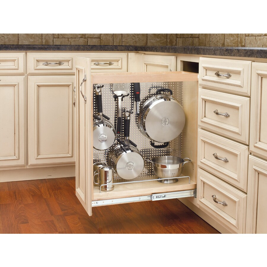 Shop rev a shelf 8 in w x 25 5 in h wood 1 tier cabinet for Kitchen cabinet organizers