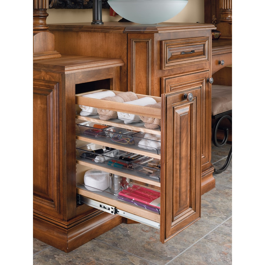kitchen cabinet organizers shop rev a shelf 8 in w x 20 25 in 1 tier wood cabinet 2646
