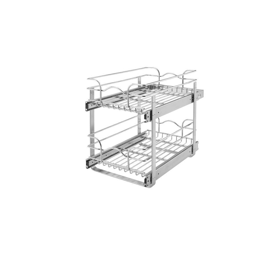 kitchen cabinet pull out shelves home depot shop rev a shelf 11 75 in w x 19 in 2 tier metal basket at 19351