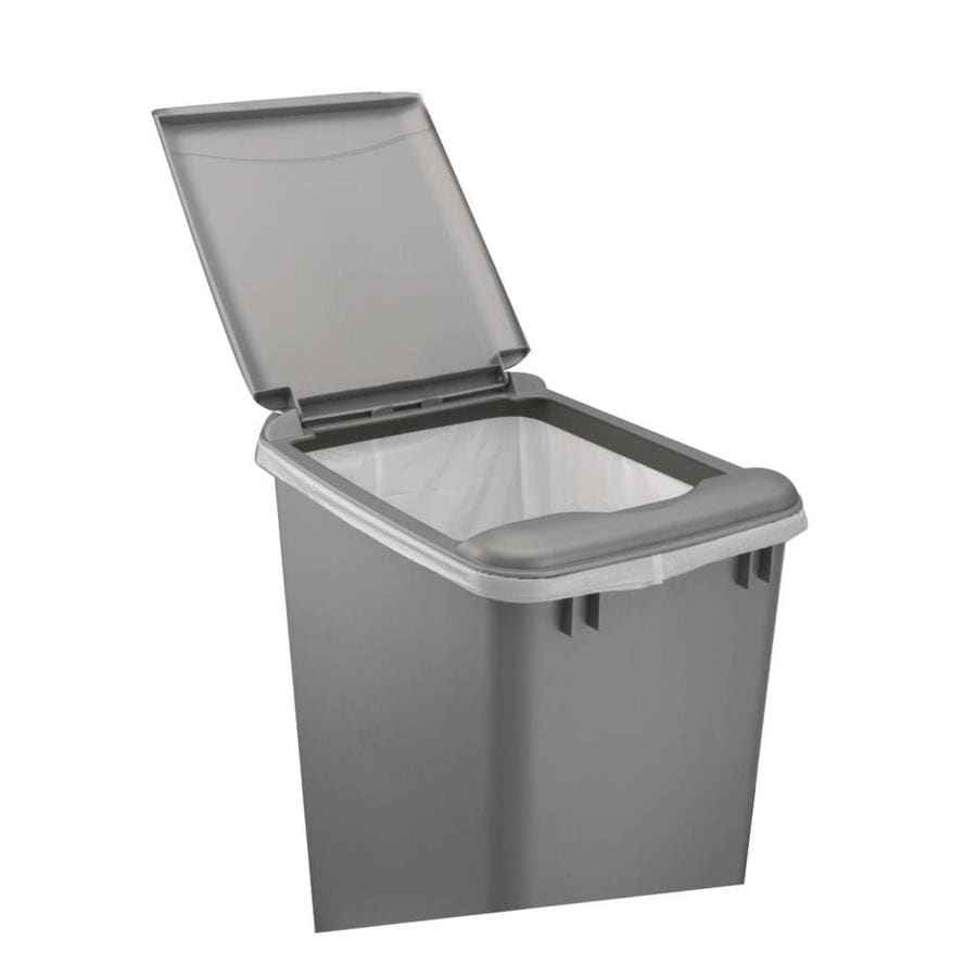Shop rev a shelf gray plastic kitchen trash can lid at for Bathroom containers with lids