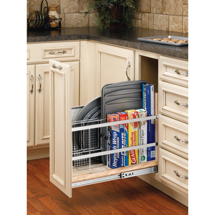 Rev-A-Shelf 8-in W x 19.5-in H Wood 1-Tier Cabinet Foil Wrap Holder