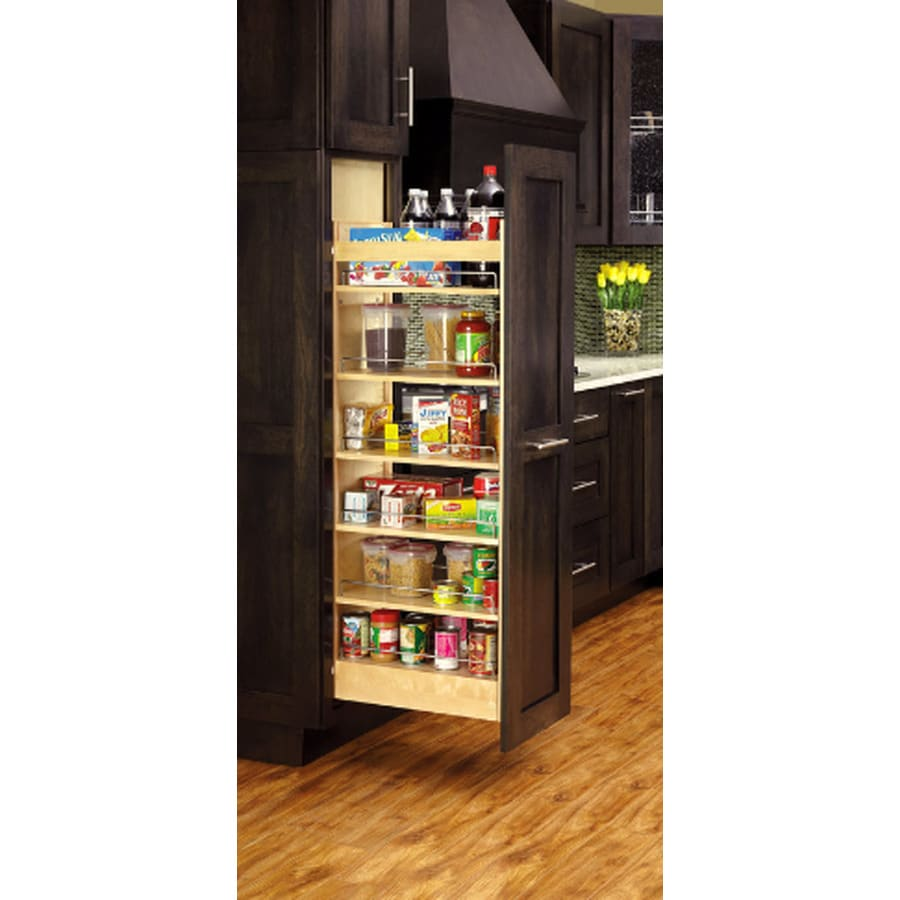 Rev-A-Shelf 8-in W x 66.88-in H Wood 1-Tier Cabinet Pantry